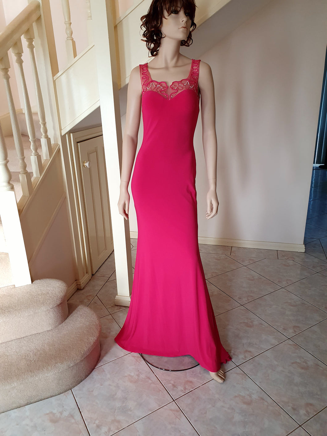 Square Neckline Gown in Fuchsia Style 2201 by Miracle Agency