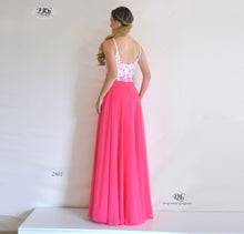 Load image into Gallery viewer, Back image of Embroidered Bodice Spaghetti Straps Formal Dress in Hot Pink Style 2601 by Miracle Agency