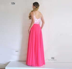 Back image of Embroidered Bodice Spaghetti Straps Formal Dress in Hot Pink Style 2601 by Miracle Agency
