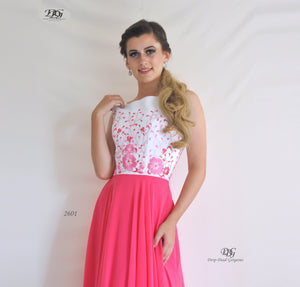 Close image of Embroidered Bodice Spaghetti Straps Formal Dress in Hot Pink Style 2601 by Miracle Agency