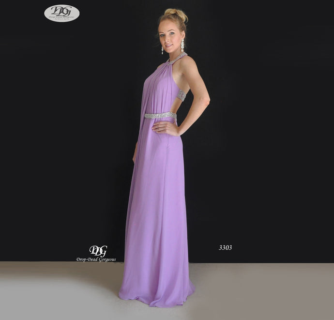 Halter Neckline Open Back Formal Dress in Lilac Style 3303 by Miracle Agency
