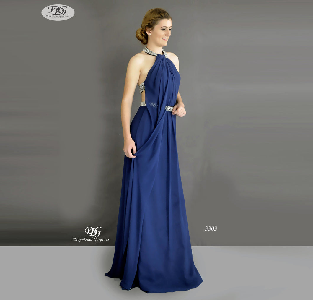 Halter Neckline Open Back Formal Dress in Navy Style 3303 by Miracle Agency