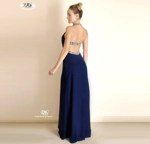 Back Image of Halter Neckline Open Back Formal Dress in Navy Style 3303 by Miracle Agency