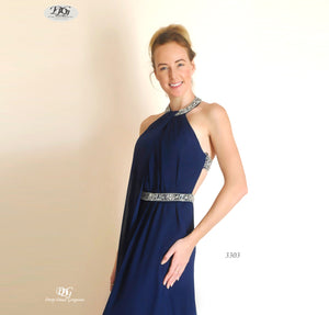 Close image of Halter Neckline Open Back Formal Dress in Navy Style 3303 by Miracle Agency