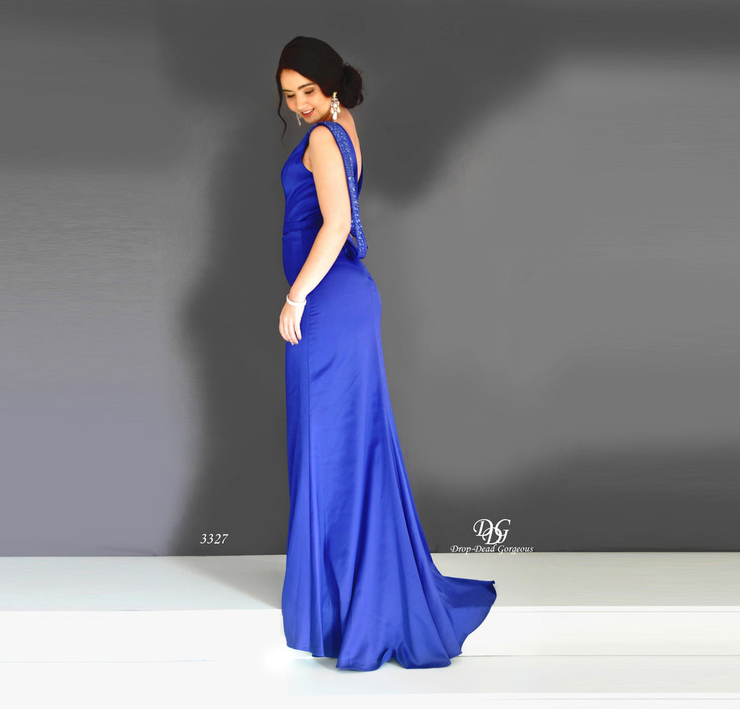Back image of Lush, Liquid Sleeveless Formal Gown in Royal Blue Style 3327 by Miracle Agency