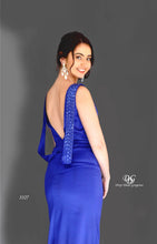 Load image into Gallery viewer, Close Up details of Lush, Liquid Sleeveless Formal Gown in Royal Blue Style 3327 by Miracle Agency