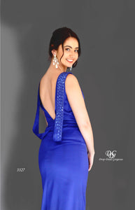 Close Up details of Lush, Liquid Sleeveless Formal Gown in Royal Blue Style 3327 by Miracle Agency