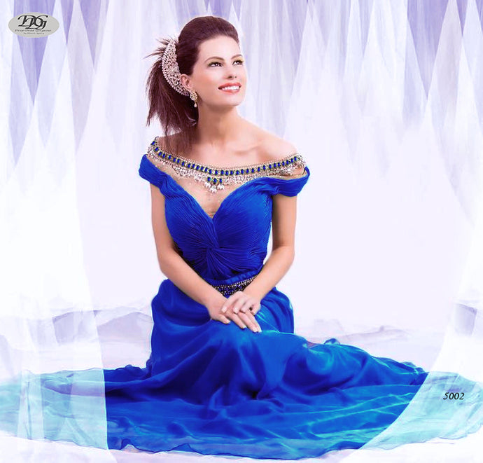 Cap Sleeve A-line Gown with Bateau Neckline Formal Dress in Royal Blue Style 5002 by Miracle Agency