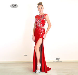 Enchanted Sparkle S/less Formal Gown in Red Style 5008 by Miracle Agency