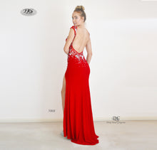 Load image into Gallery viewer, Back image of Enchanted Sparkle S/less Formal Gown in Red Style 5008 by Miracle Agency