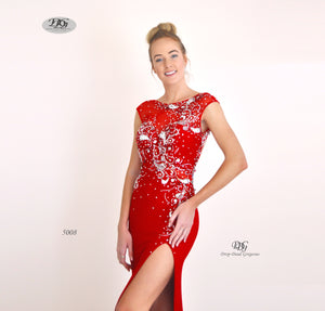 Close image of Enchanted Sparkle S/less Formal Gown in Red Style 5008 by Miracle Agency