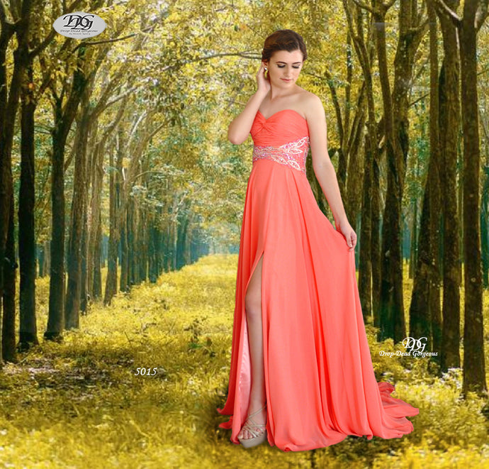 Strapless Ruched Bust Beaded Waist Formal Dress in Coral Style 5015 by Miracle Agency