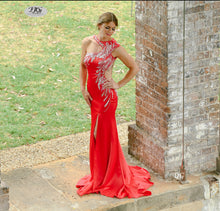 Load image into Gallery viewer, Iridescent Sparkle Evening Dress in Red Style 5023 By Miracle Agency