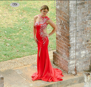 Iridescent Sparkle Evening Dress in Red Style 5023 By Miracle Agency