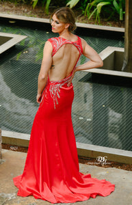 Open Back image of the Iridescent Sparkle Evening Dress in Red Style 5023 By Miracle Agency