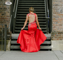 Load image into Gallery viewer, Open Back Evening Gown of the Iridescent Sparkle Evening Dress in Red Style 5023 By Miracle Agency