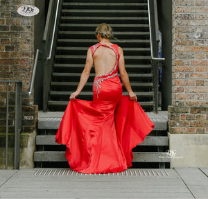Open Back Evening Gown of the Iridescent Sparkle Evening Dress in Red Style 5023 By Miracle Agency