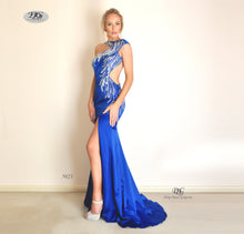 Load image into Gallery viewer, Iridescent Sparkle Evening Dress in Royal Blue Style 5023 By Miracle Agency