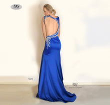 Load image into Gallery viewer, The back image of the Iridescent Sparkle Evening Dress in Royal Blue Style 5023 By Miracle Agency