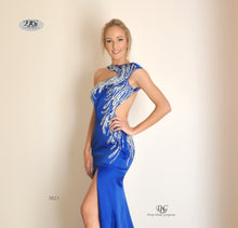 Load image into Gallery viewer, Close Up details of the Iridescent Sparkle Evening Dress in Royal Blue Style 5023 By Miracle Agency
