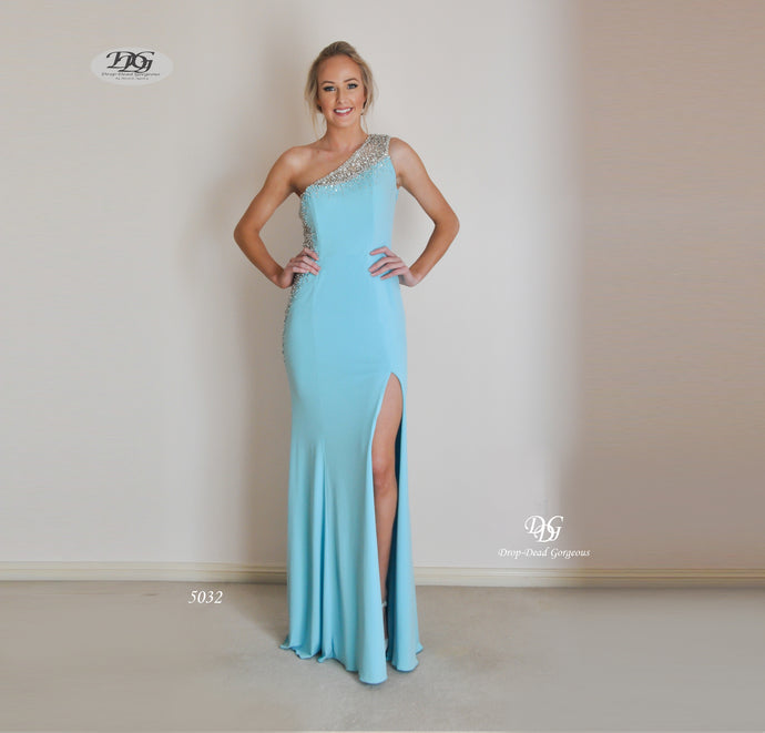 Asymmetrical Sparkle Detail Evening Gown in Ice Blue Style 5032 Sizes 16,18 by Miracle Agency