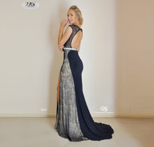 Load image into Gallery viewer, Back image of Scoop Neckline Keyhole Front Lace Inserts Gown in Navy Style 5038 by Miracle Agency