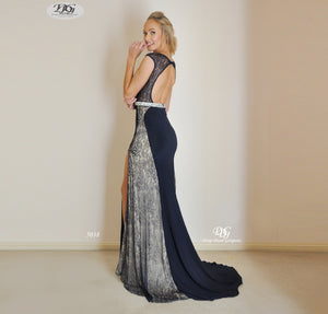 Back image of Scoop Neckline Keyhole Front Lace Inserts Gown in Navy Style 5038 by Miracle Agency