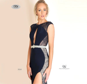 Close image of Scoop Neckline Keyhole Front Lace Inserts Gown in Navy Style 5038 by Miracle Agency