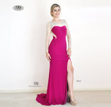 Load image into Gallery viewer, Enchanted Long Sleeve  Formal Gown in Magenta Style 5043 by Miracle Agency