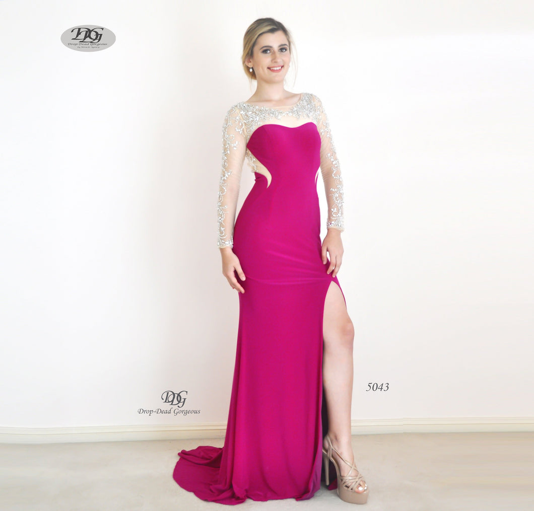Enchanted Long Sleeve  Formal Gown in Magenta Style 5043 by Miracle Agency