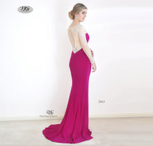 Load image into Gallery viewer, Back image of Enchanted Long Sleeve  Formal Gown in Magenta Style 5043 by Miracle Agency