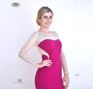 Close image of Enchanted Long Sleeve  Formal Gown in Magenta Style 5043 by Miracle Agency