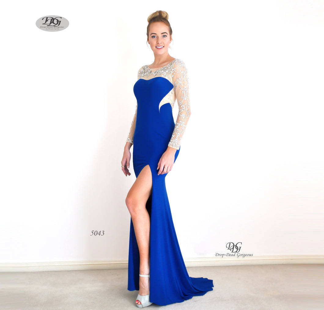 Enchanted Long Sleeve  Formal Gown in Royal Blue Style 5043 by Miracle Agency