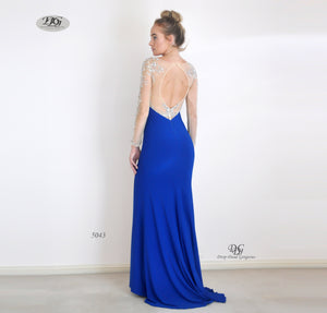Back image of Enchanted Long Sleeve  Formal Gown in Royal Blue Style 5043 by Miracle Agency