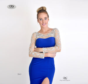 Close image of Enchanted Long Sleeve  Formal Gown in Royal Blue Style 5043 by Miracle Agency