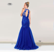 Load image into Gallery viewer, The back image of the Beaded Halter Neck Lace Formal Gown in Royal Blue Style 5051 by Miracle Agency
