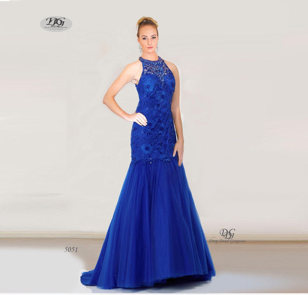 Beaded Halter Neck Lace Formal Gown in Royal Blue Style 5051 by Miracle Agency