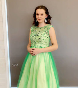 Taylor Jade in Illusion Beaded Neckline Ball Gown in Emerald Style 5058 by Miracle Agency