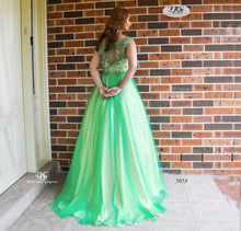 Load image into Gallery viewer, Back image of the Illusion Beaded Neckline Ball Gown in Emerald Style 5058 by Miracle Agency