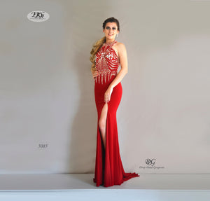 Halter Neck Open Back Formal Gown in Red Style 5085 by Miracle Agency