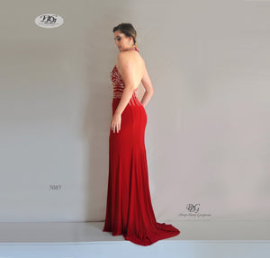 Back image of Halter Neck Open Back Formal Gown in Red Style 5085 by Miracle Agency