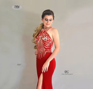 Close image of Halter Neck Open Back Formal Gown in Red Style 5085 by Miracle Agency