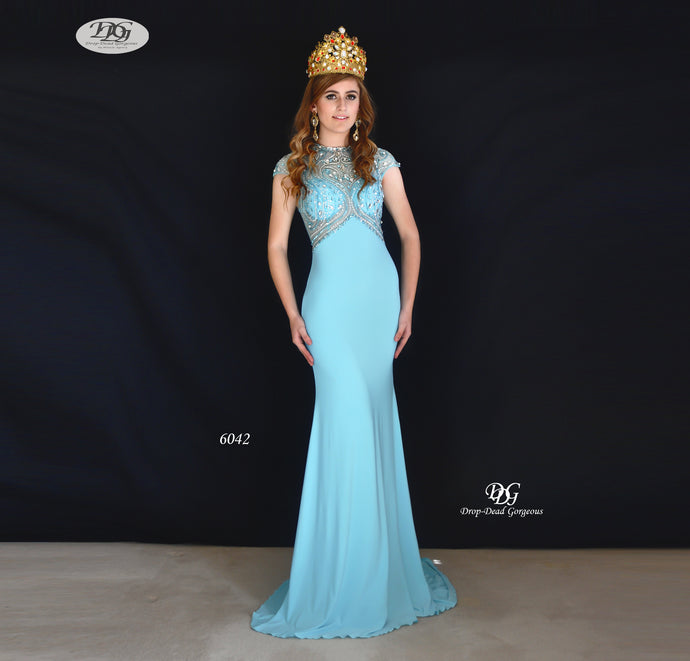 Classy Crystal Illusion Evening Dress Style 6042 in Ice Blue Size 16 by Miracle Agency