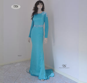 Long Sleeve Round Neck Evening Gown Style 6601 in Aqua Blue by Miracle Agency