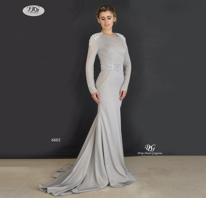 L/S Round Neck Evening Gown Style 6601 in Grey by Miracle Agency