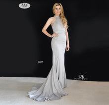 Load image into Gallery viewer, Halter Neck Evening Gown with Beaded Waist Style 6603 in Grey Sizes 18 by Miracle Agency