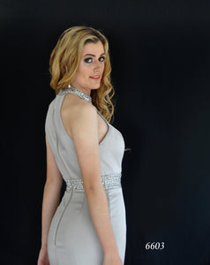 Halter Neck Evening Gown with Beaded Waist Style 6603 in Grey Sizes 18 by Miracle Agency