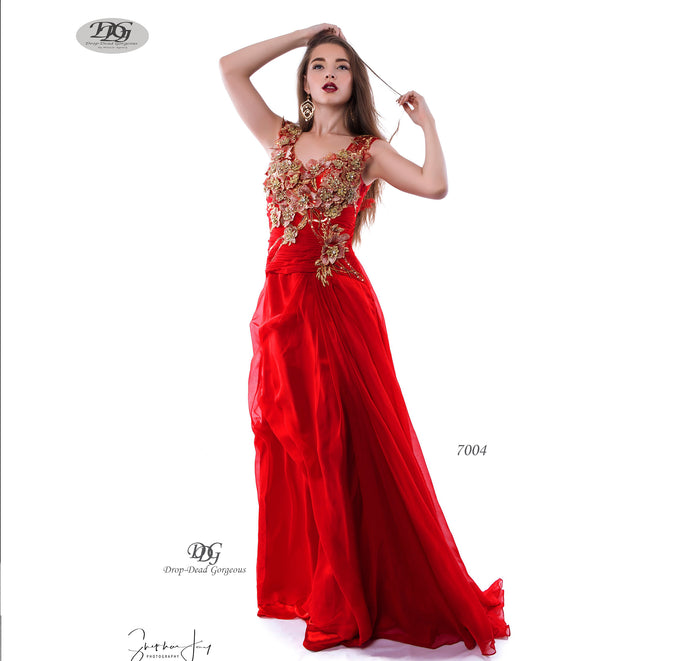 Silky Chiffon Evening Dress with 3D Floral Appliques in Red Style 7004 by Miracle Agency