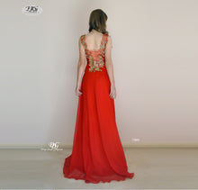 Load image into Gallery viewer, Silky Chiffon Evening Dress with 3D Floral Appliques in Red Style 7004 by Miracle Agency