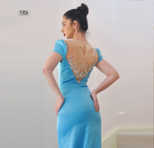 Load image into Gallery viewer, Close image of Lush, Liquid Cap Sleeve Formal Gown in Aqua Blue Style 7506 by Miracle Agency